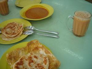 roti canai and teh tarik